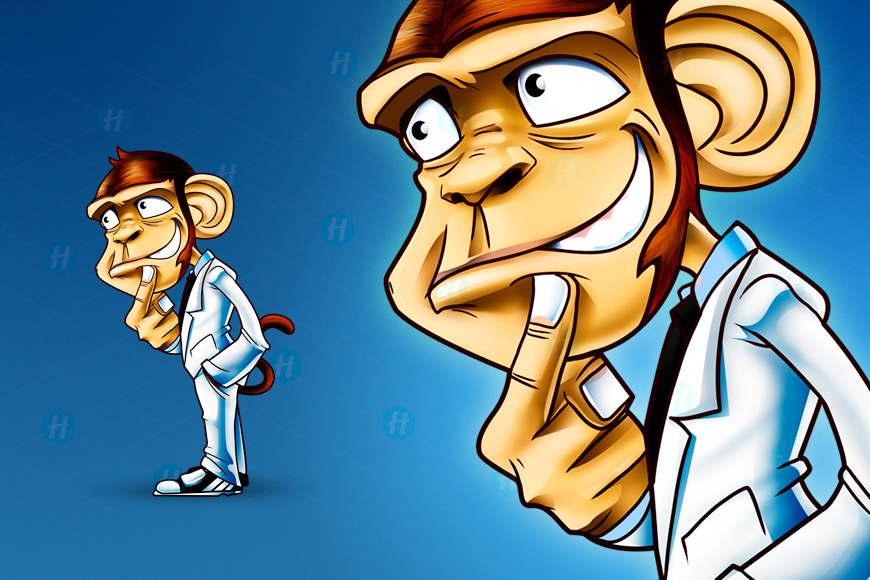 Monkey-Brain-Cartoon-Design-By-HipMascots