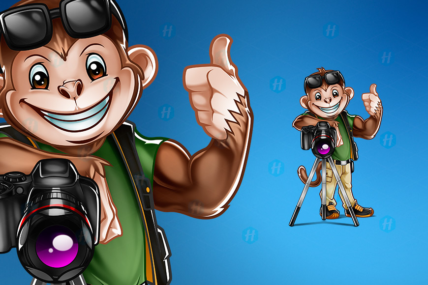 Personna-Pics-Monkey-Photographer-Cartoon-by-HipMascots