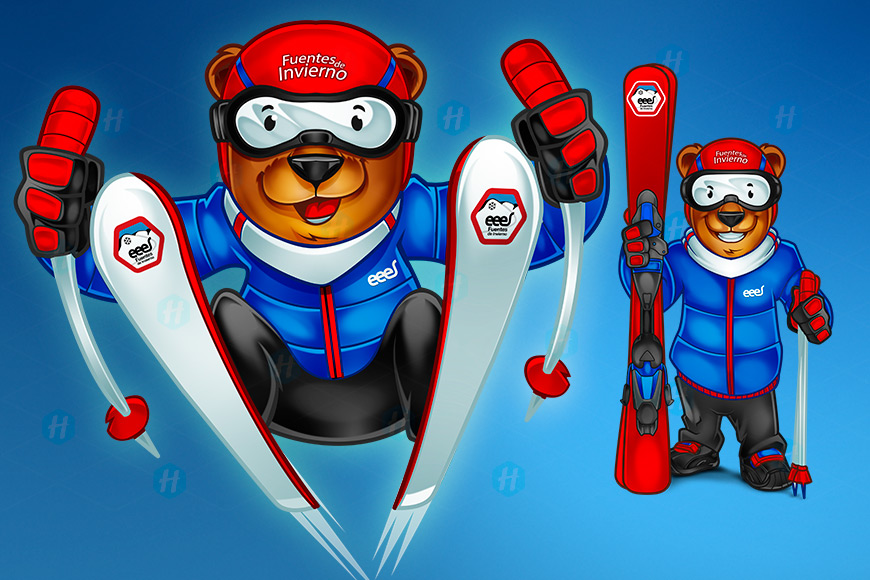Skiing-Bear-Cartoon-Design-Hip-Mascots