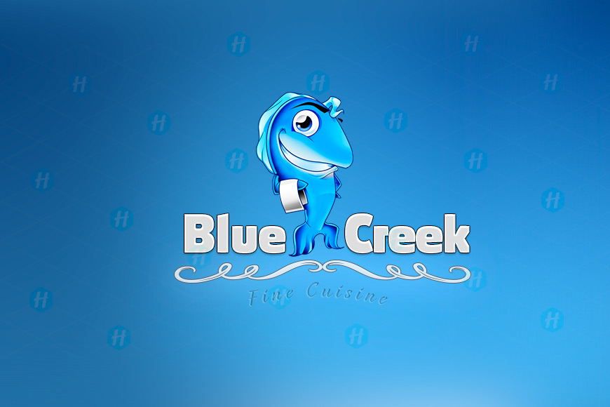 Blue-Creek-Restaurant-Cartoon-Logo-Design-by-HipMascots