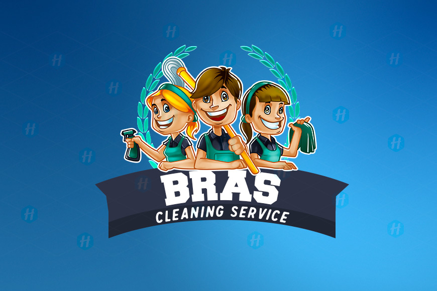 Bras-Cleaning-Service-Cartoon-Logo-Design-by-HipMascots