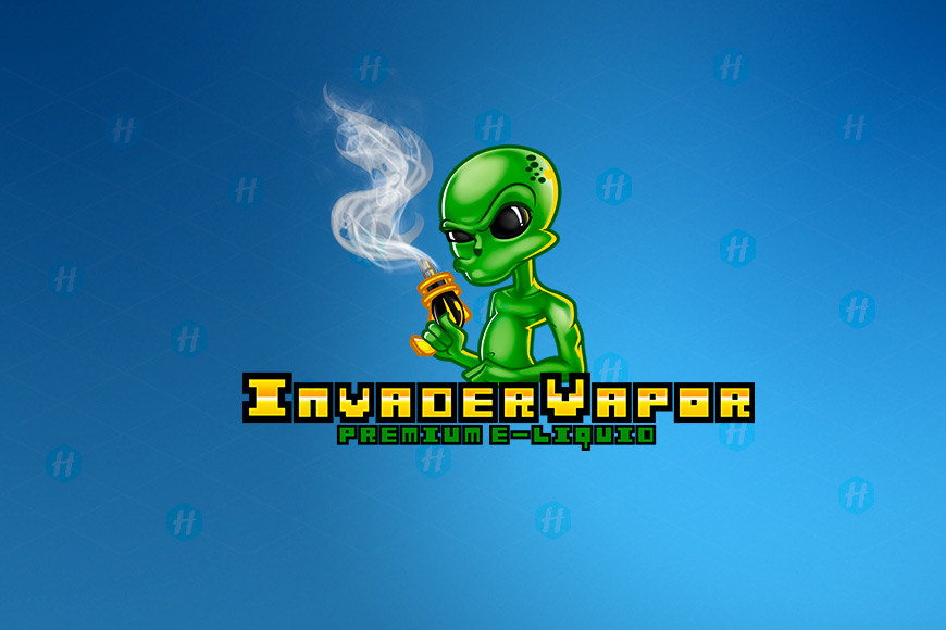 Invader-Vapor-E-liquid-Cartoon-Logo-Design-by-HipMascots