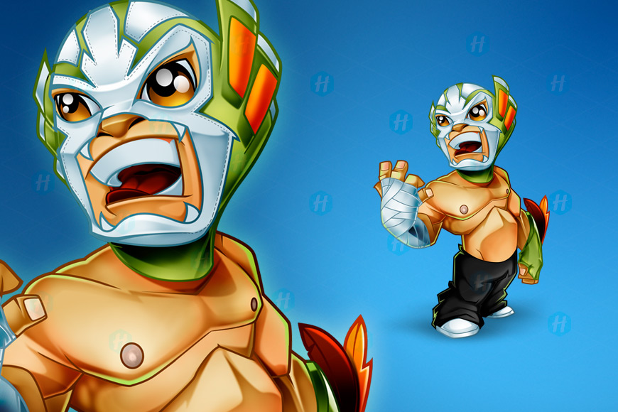 Mexican-Wrestler-Cartoon-Design-by-HipMascots